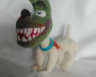 felting dog Milo (the Mask)