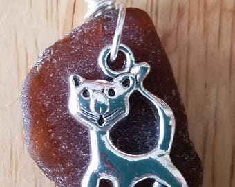 Brown Beach Glass Cat necklace