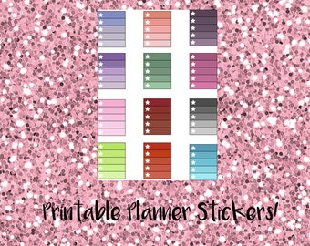 EC Printable Stickers: Cool Toned Star Ombre Checklist Full Boxes
