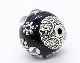 9 pcs Handmade Indonesian Black Round Beads, Size about 12 mm in diameter, Hole 2 mm for jewelry making DIY - SB8