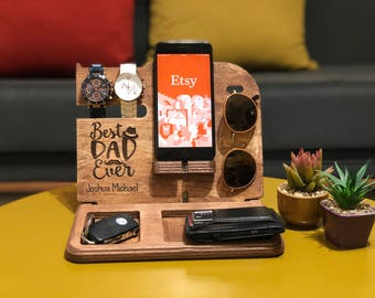 Desk Wooden Organizer, Cell Phone stands, Phone stand, Desk organizers, Mens Docking station, Watch stand, Husband gift, Apple watch dock