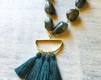 Labradorite Tassel Necklace