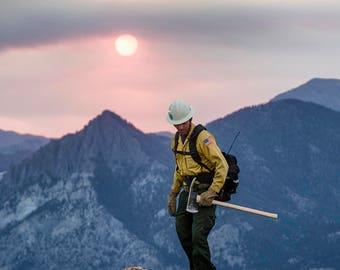 Wildland firefighter at dusk
