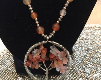Wire Wrapped Tree of Life Beaded Necklace