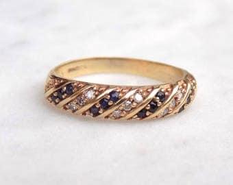 Diamond and Sapphire Half Eternity Twist Ring in 9ct Gold