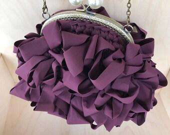 Handmade Handbag Furbelow, Valentines day gift for her, Anniversary gift, Made in Greece