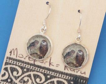 New Zealand Owl, Morepork, Ruru, bird, vintage art print, Earrings, glass dome art, sterling silver earring wires