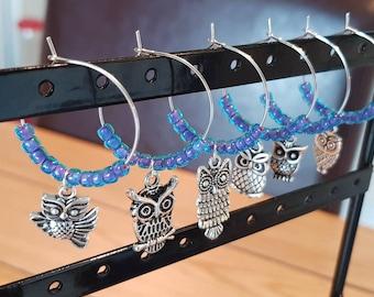 Blue and Purple Owl Wine Glass Charms