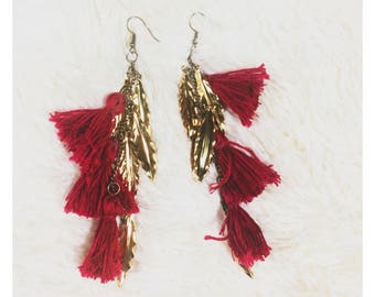 Tassel Earrings - Dangle Feather Earrings