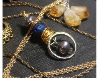 Recycled ring pearl gold pendant