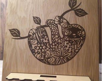 Oak Tablet Stand - Sloth