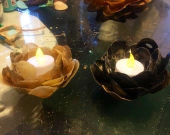Lotus flower candle holder, all seashells! SET of 2!!