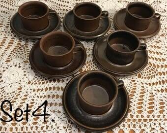 Arabia Ruska espresso cups with saucers/ set of 6