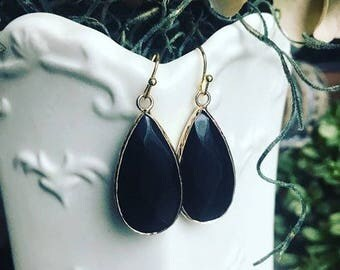 Navy Jade Gemstone Earrings-Handmade Earrings-Dangle Earrings