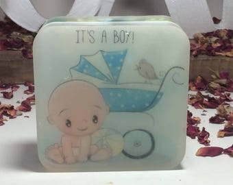 Handmade organic soap, it is a boy baby shower bar soap, baby shower gift