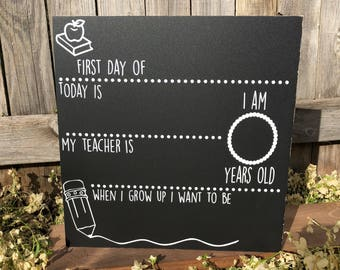 "First Day of School Chalkboard | Back to School | 12"" x 12"" 