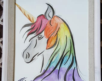 """Original Watercolor """"Mistical Steed"""" 11x14 Framed Unicorn Painting"""