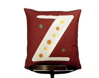 "Cushion Cover Z monogram, bright color pillow cover, 16x16"", cotton cushion art cover,  clay red color, Multi-Coloured, Child-safe printing."