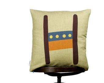 "H as Henry, modern and bright color pillow cover, 16x16"", cotton cushion art cover,  beige background, Multi-Coloured, Child-safe printing."