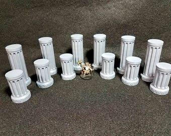 12 piece 28mm column set Dungeons And Dragons 28mm Terrain 40K Pathfinder Warhammer RPG Scatter Terrain