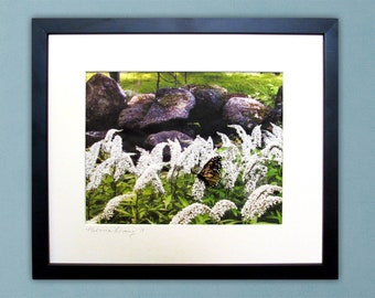 Monarch Butterfly and White Flowers - Framed Thread Painting - Modern Quilted Wall Art