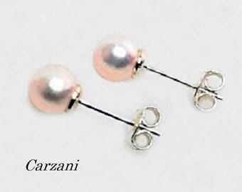 Akoya pearl earrings, stud earrings, with 2 genuine cultured  Akoya pearls, sterling silver 925