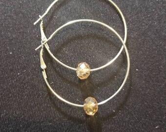 Hoop Earrings With Bling Gold Bead