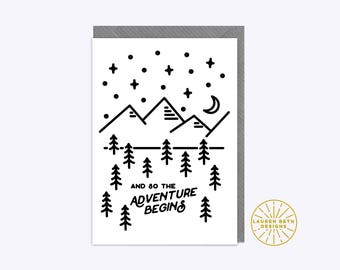 And So The Adventure Begins Greeting Card A6 Black // New baby job wedding birthday good luck