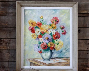 Very large French antique painting. Oil painting. French painting 30. Large frame. Flowers painting. Painting bouquet of flowers. French art