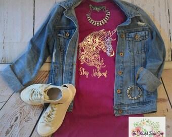 "Unicorn Mandala ""Stay Magical"" T-shirt in Fuschia"
