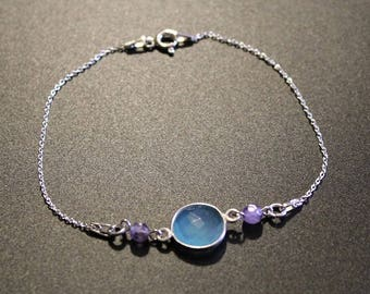Chalcedony and Amethyst bracelet