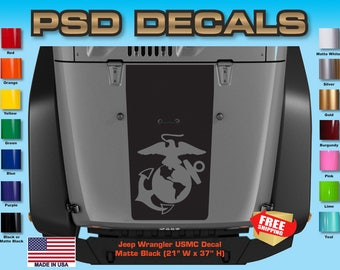 Jeep Decals Jeep Wrangler Blackout USMC Vinyl Hood Decal H-119