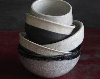 Soup bowls Raku Food props ceramic crockery handmade
