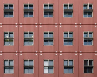 Milan façade of a palace-Red Square photo with Windows architecture Digital Download