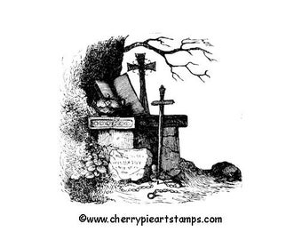 CEMETERY corner- tombstones crosses- CLING STAMP  G273