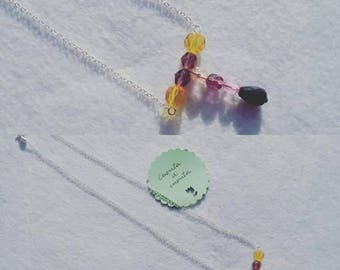 Necklace with original design in colors, amber necklace, purple necklace, lilac necklace, pink necklace, original necklace, stylish necklace, fashion