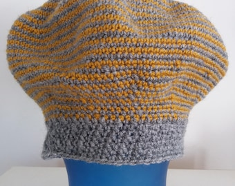 Crocheted Striped Slouchy Beret