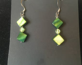 Green Diamond shaped earrings w