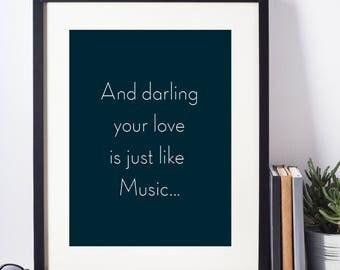 "Marvin Gaye""Just like Music"", Blue Wall Art,  Wedding gift, Valentine Gift, Gift for her, A4, 8X11 inches"