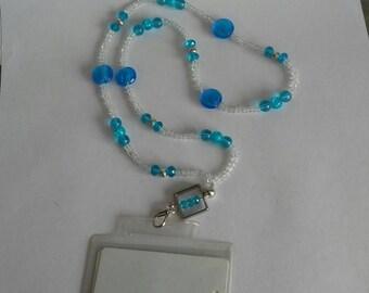 Necklace blue badge holder