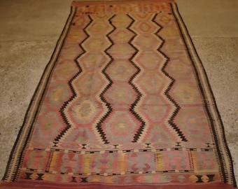 Old Turkish Fethiye Kilim, Eye Dazzler Design, Soft Pastel Colours, Circa 1920.