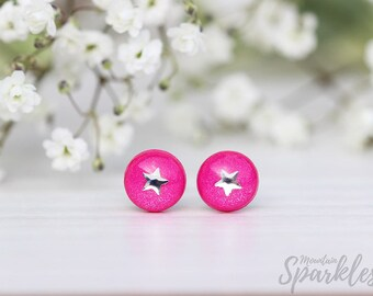 Dark Pink stud earrings, Simple Stud Earrings Pink, Pink earrings minimalist, Pink Nickel Free Hypoallergenic Earrings, Pink Kids Jewelry