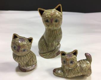 Set 3 cats Cloisonnè