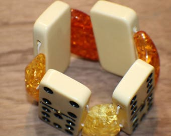 Vintage Domino Bracelet - Catalin Dominoes - Amber Confetti Lucite Spacers - Recycled - Game Piece Collection