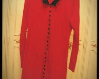 Vintage 80s Red Witchy Dress
