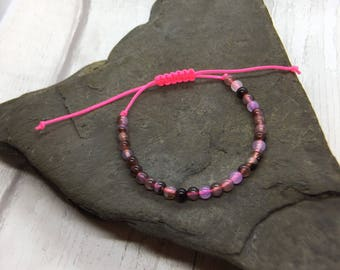 Neon pink adjustable bracelet, dusky pink beaded bracelet, assorted colour bracelet, surf bracelet, gift for her