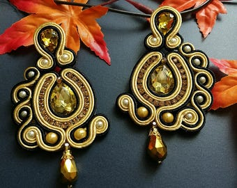 Beautiful Handmade Soutache Earrings Statement Elegant Dangle Drop Earrings Yellow Crystal Gold and Silver Beads Yellow Black Earrings