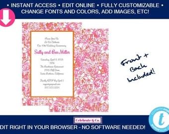 Floral Birthday Invitation, Bridal Shower Invitation, Bridal Shower Invite, Party Invitations, Instant Download, Fully Editable, FI2