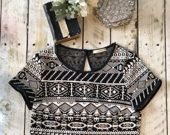 Tribal Black and White Crop Top
