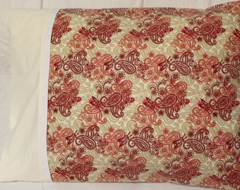 Paisley Red / Beige Handmade Pillow Case